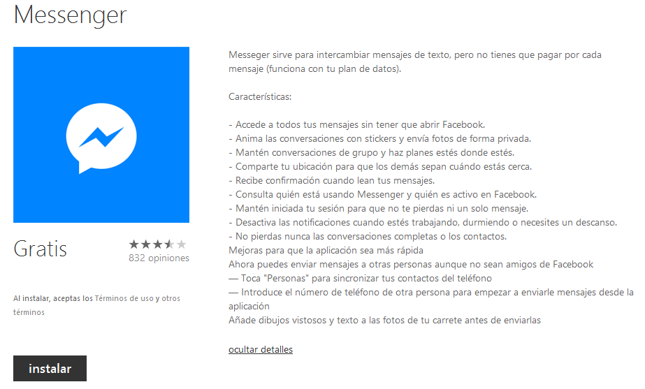 descargar facebook messenger windows phone
